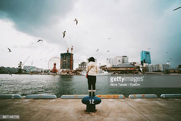 Woman Standing On Bollard On City Pier
