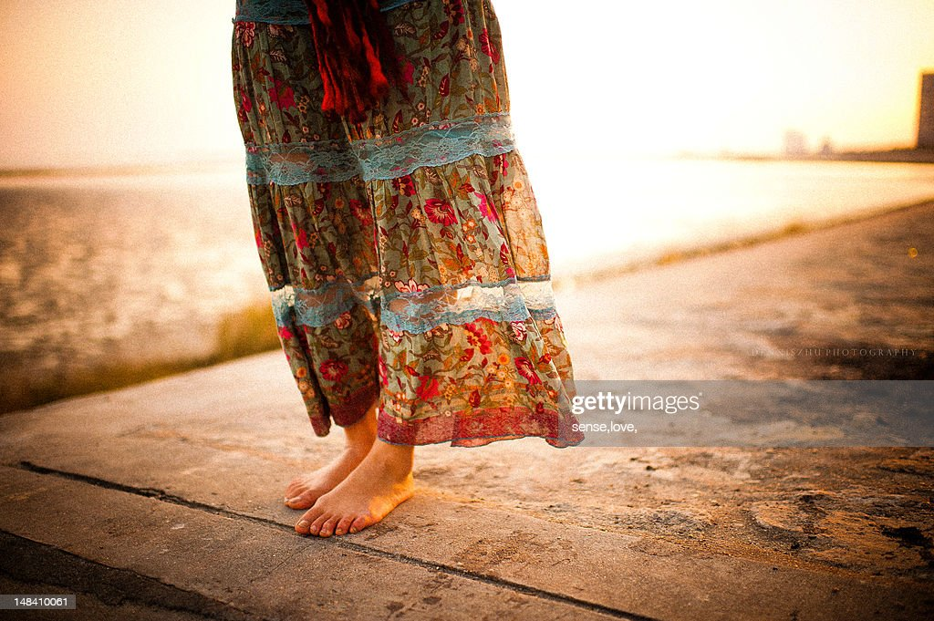 Woman standing on pier : Stock Photo
