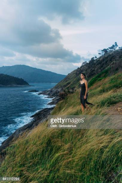Woman standing on the cape in Thailand
