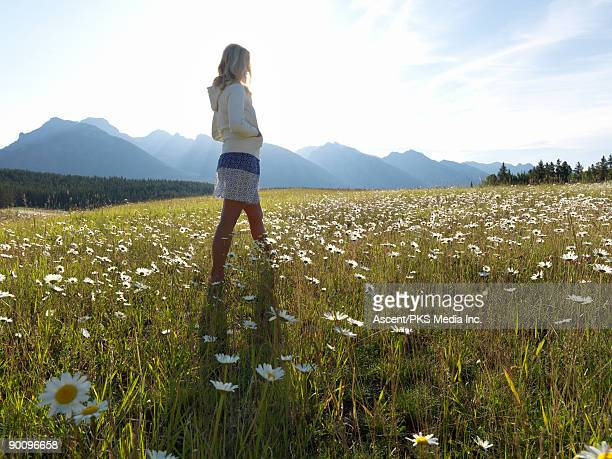 Woman stands in mountain meadow of daisies