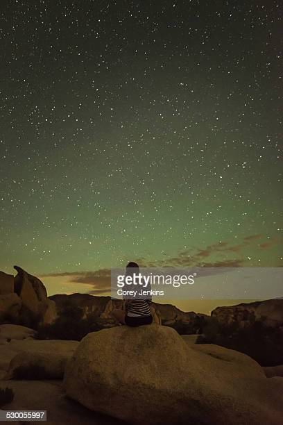 Woman, starry night, Joshua Tree National Park, California, US