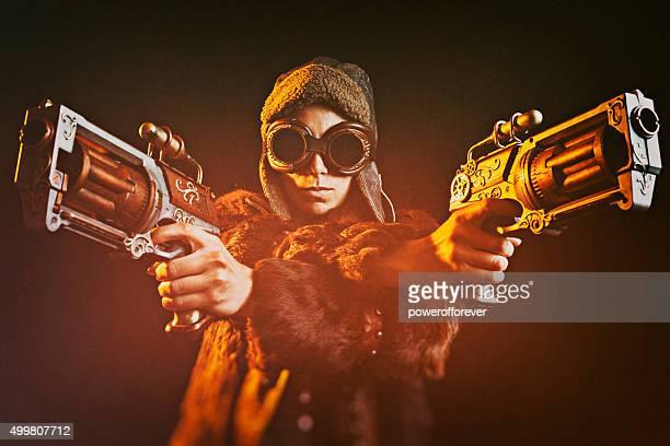 Frau Steampunk Gunslinger