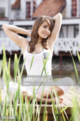 Woman stretching exercising : Stock Photo