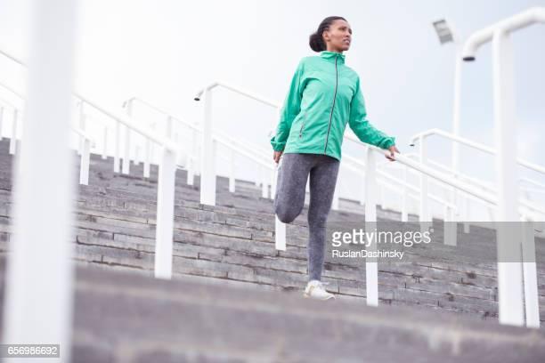 Woman stretching exercising.