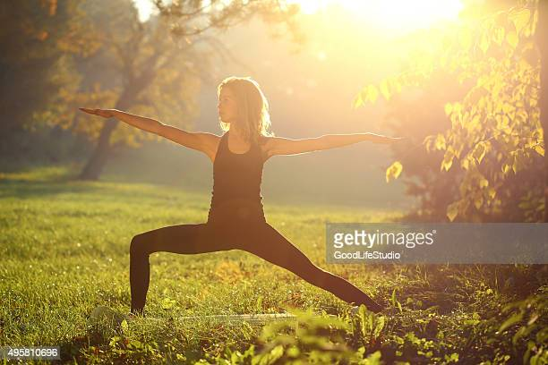 Woman stretching in nature