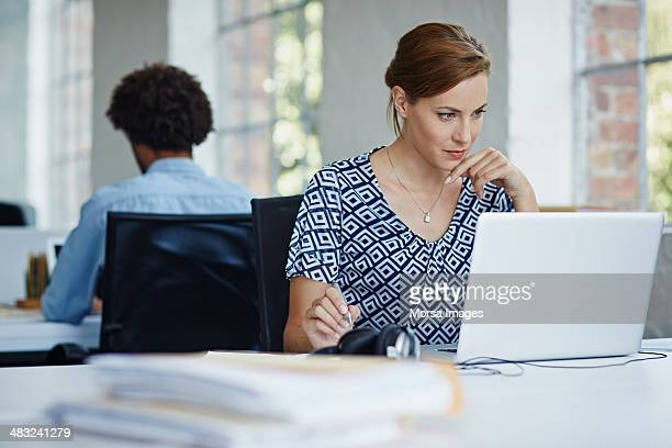 Woman studying business strategy