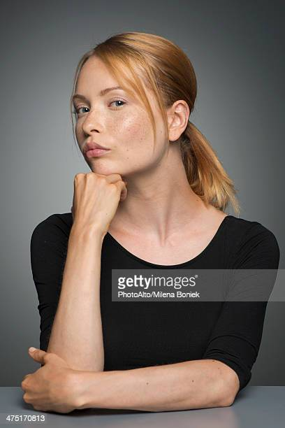Woman sulking, portrait
