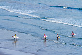 Woman surfers during Pro A Coruña Surf 2016 World Surf League event celebrated in the Caión beach A Coruña Galicia Spain on 510 July 2016
