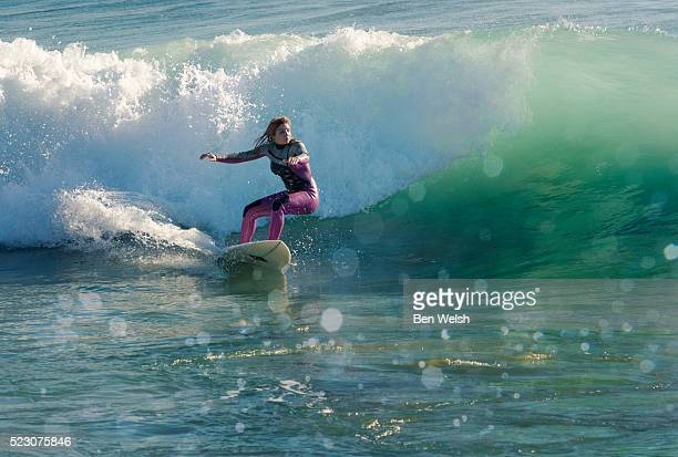 Woman surfing.