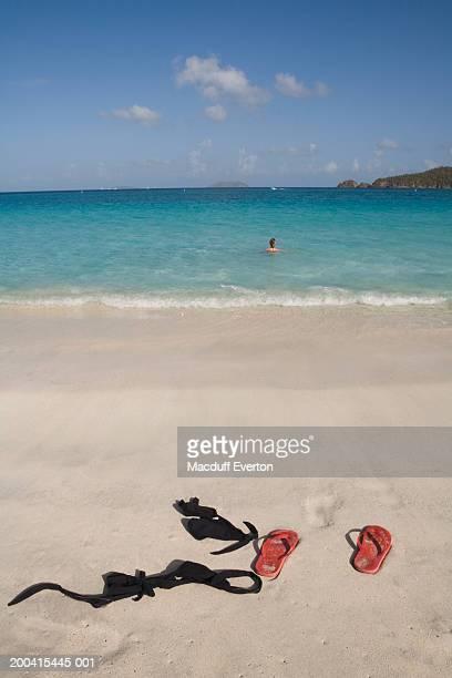 Woman swimming in ocean