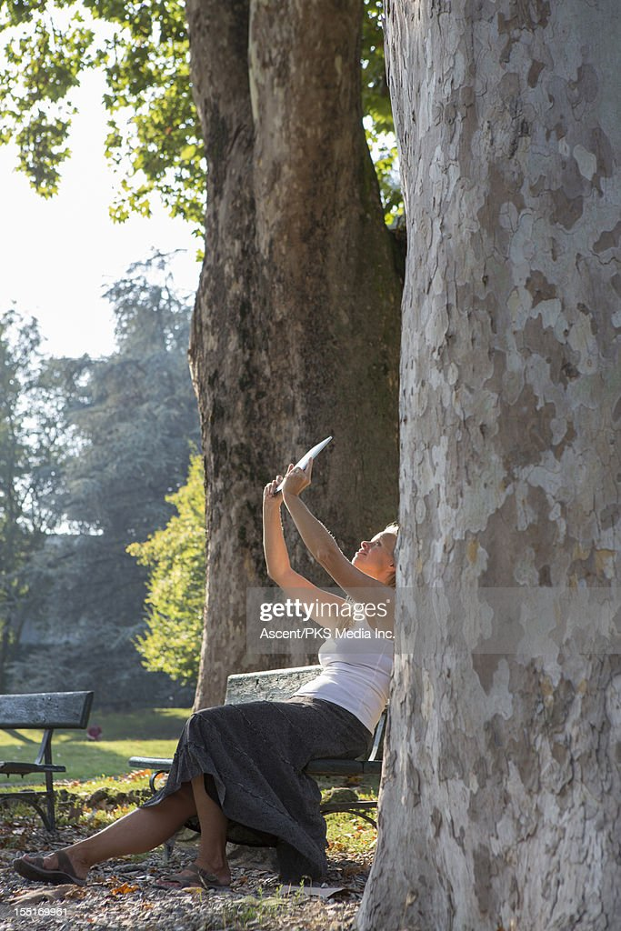 Woman takes picture of trees with digital tablet : Stock Photo