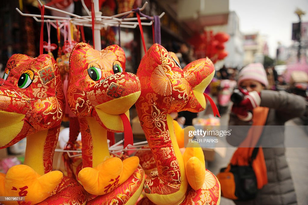 A woman takes pictures of toy snakes at a market in Shanghai on February 6, 2013 ahead of the Lunar New Year. Preparations continue for the Lunar New Year which will celebrate the Year of the Snake on February 10. AFP PHOTO / Peter PARKS