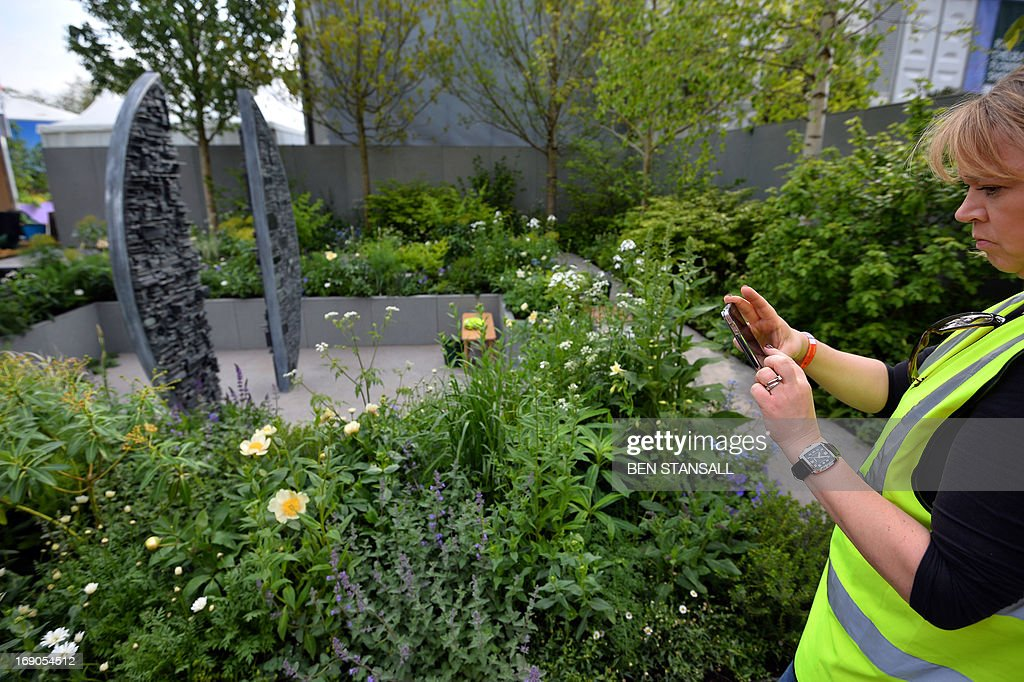 A woman takes pictures with her mobile phone at the 'Stop the Spread' garden in the Chelsea Flower Show in London on May 19, 2013. The Chelsea Flower Show run by the Royal Horticultural Society celebrates its 100th birthday this year.