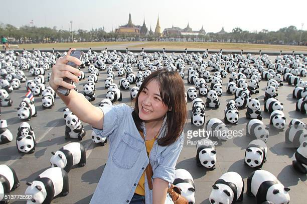 A woman takes selfie during 1600 pandas visit at Sanam Luang the field overlooking Wat Phra Kaew The Bangkok visit is part of their world tour which...
