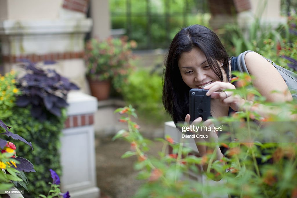 A woman taking a photo of a plant in a garden : Stock Photo