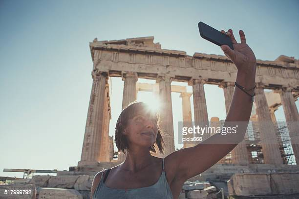 Woman taking a selfie in front of Parthenon
