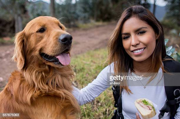 Woman taking a walk with her dog