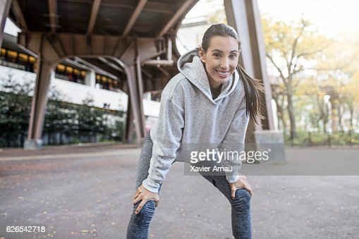 Woman taking break after a run