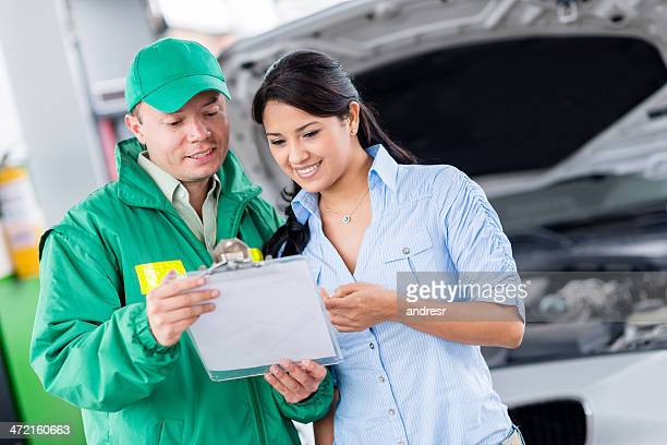 Woman taking car to the mechanic