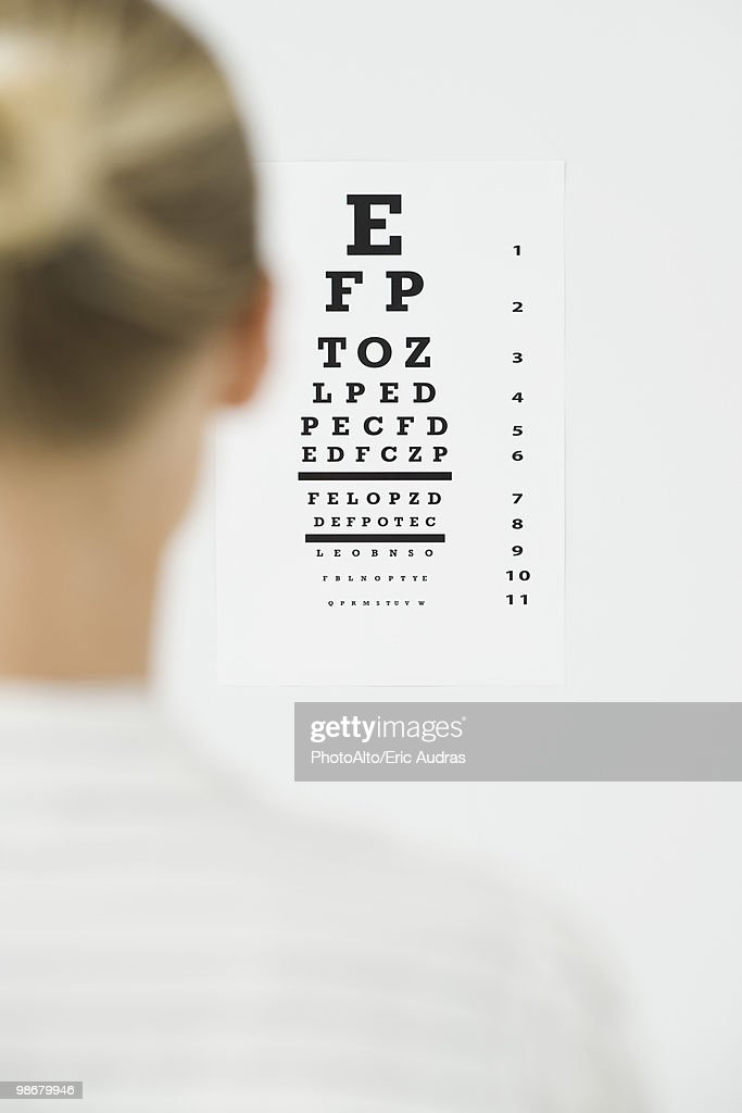 Woman taking eye exam