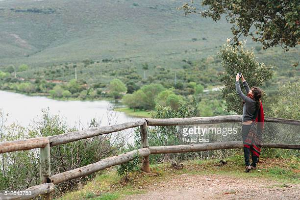 Woman taking picture on viewpoint