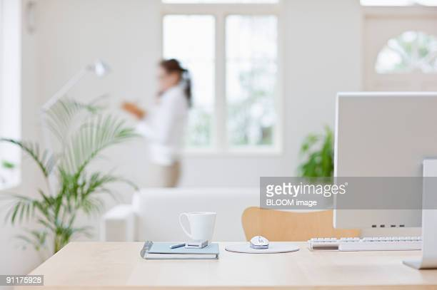 Woman talking on mobile phone, holding schedule book, focus on foreground