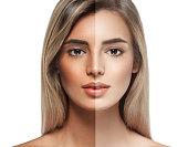 woman tan half face beautiful portrait spray. Studio shot.