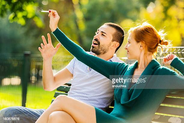 Woman telling her boyfriend to finally stop smoking