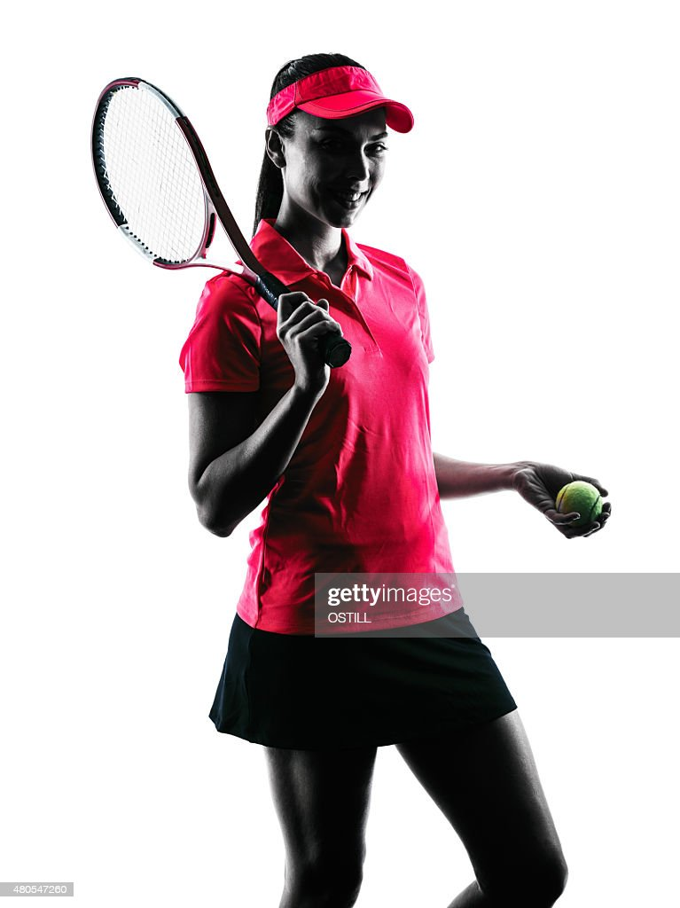 woman tennis player sadness silhouette : Stock Photo