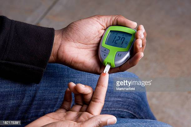 Woman Tests Blood Sugar Which Is High