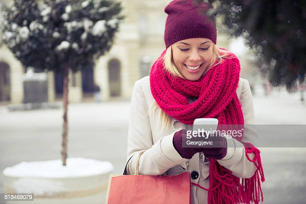 Woman texting message