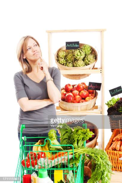 Woman Thinking and Contemplating in Grocery Store on White Background