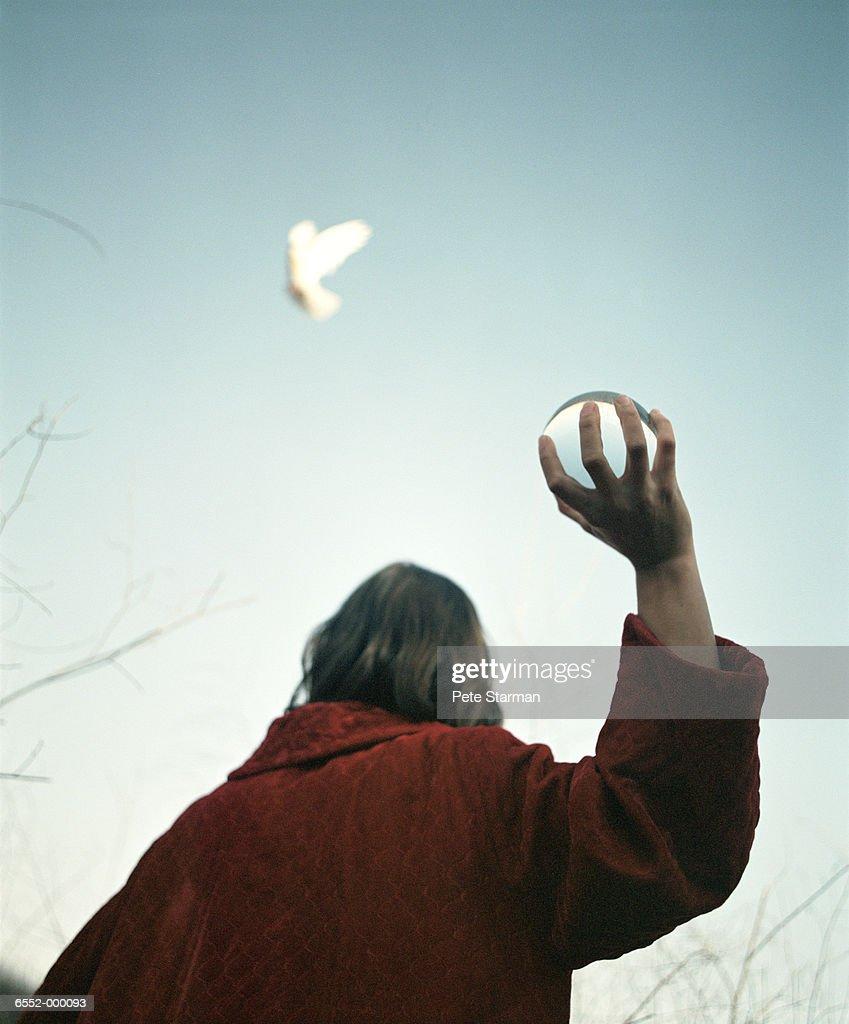 Woman Throwing Crystal Ball : Stock Photo