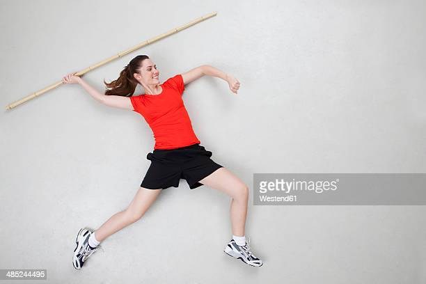 Woman throwing javelin