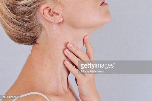 Woman thyroid gland control : Stock Photo