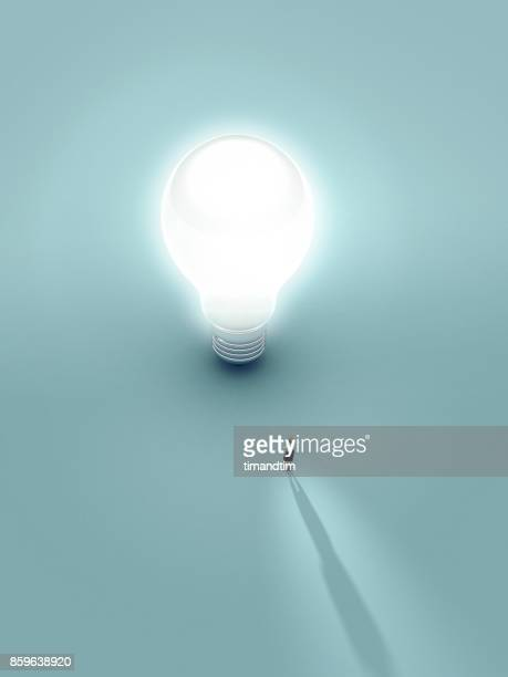 Woman touched by the light from a bulb