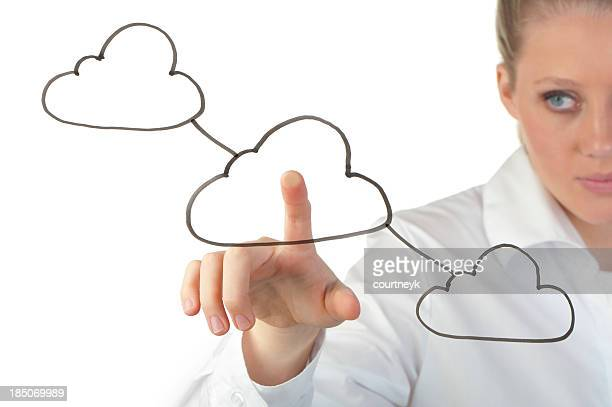 Woman touching a cloud computing icon