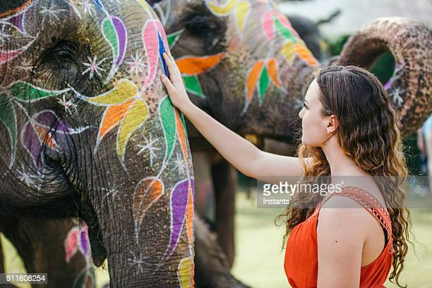 Woman touching a decorated elephant