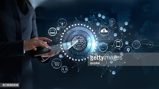 Woman touching a global network connection, Omni Channel and communications concept : Stock Photo
