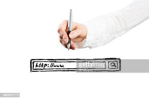 Donna toccare la barra di ricerca : Foto stock