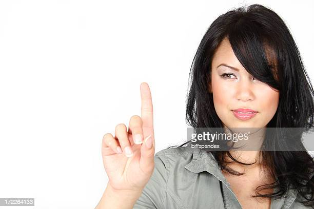 Woman Touching Invisible Screen