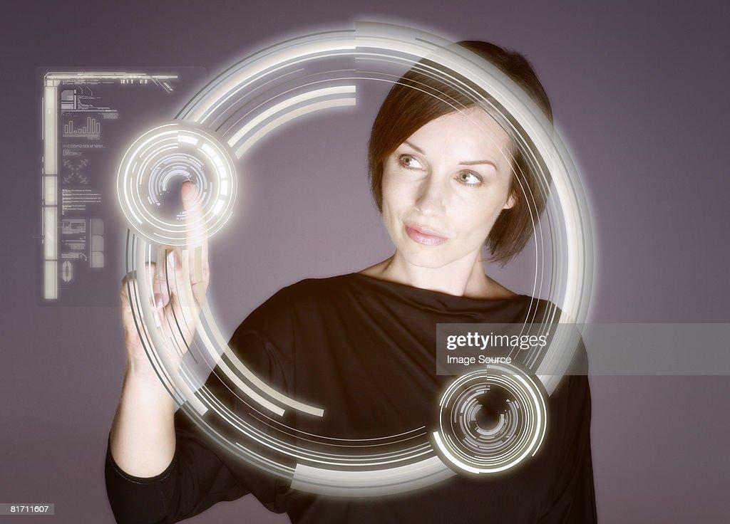 Woman touching screen