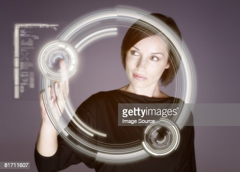Woman touching screen