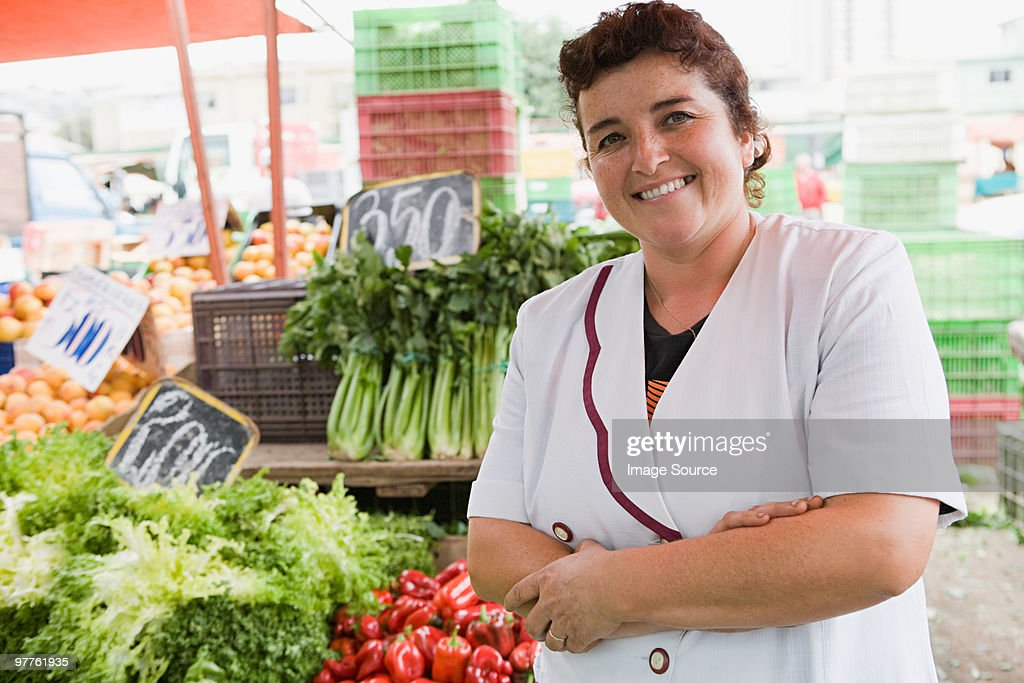 Woman trader at vegetable stall