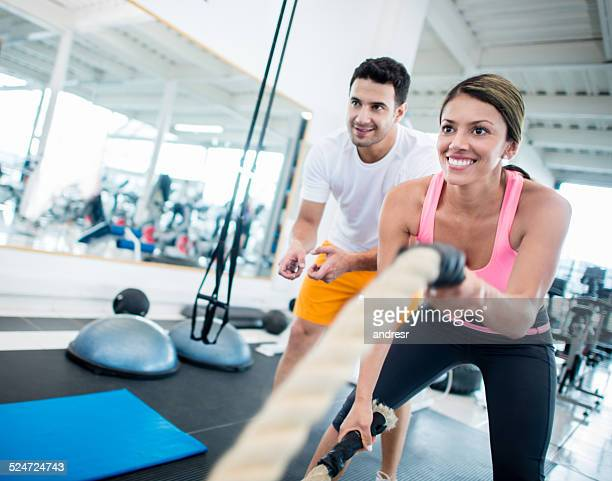 Woman training at the gym