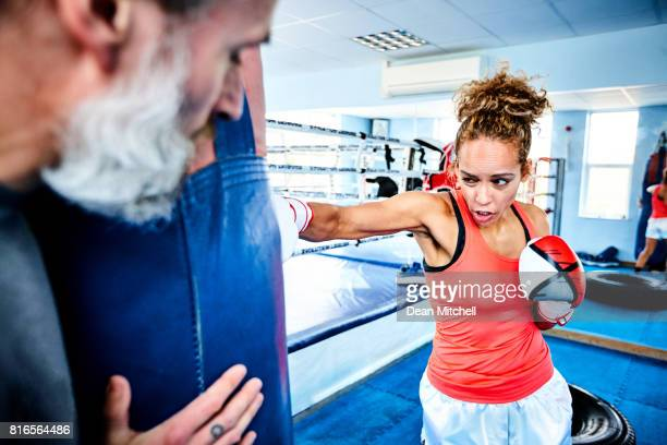 Woman training with her coach