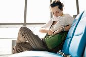 Woman traveler at airport