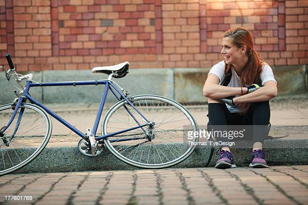 Woman traveling around the city on Bicycle