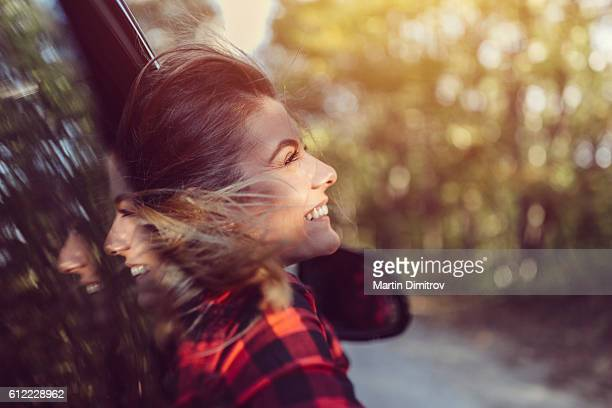 Woman traveling in car