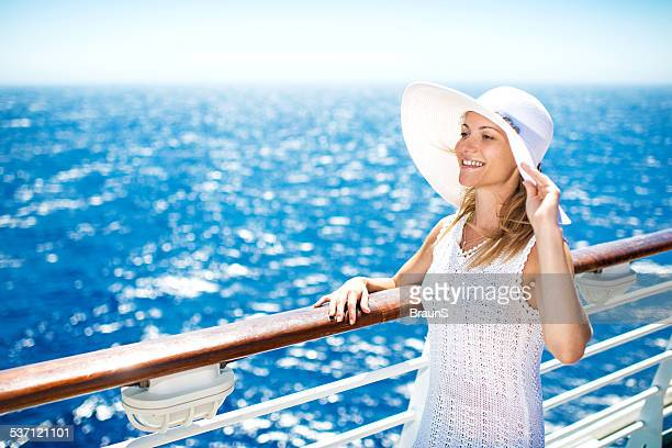 Woman traveling on a cruise ship.